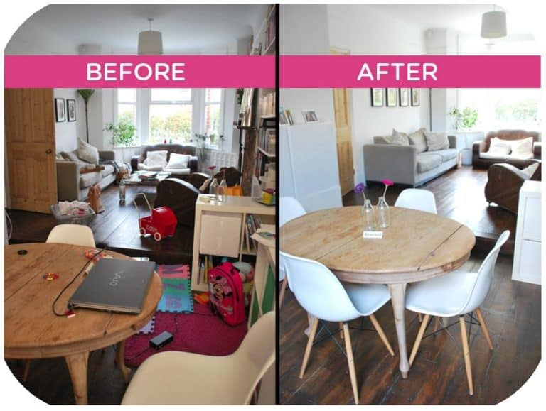 before and after of decluttering