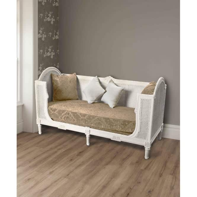 La Rochelle Antique French Style Day Bed With Brown Fabric