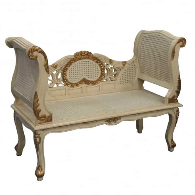 Rattan Antique French Style Sofa Ivory & Gold