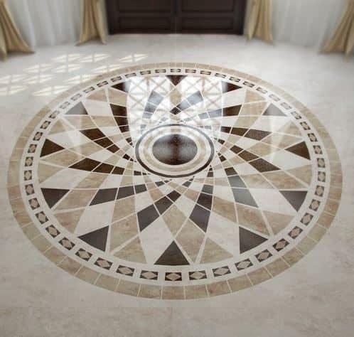 Circular mosaic tiled pattern