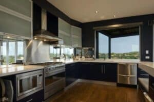 stainless-steel-brushed-aluminium-black-modern-fitted-kitchen